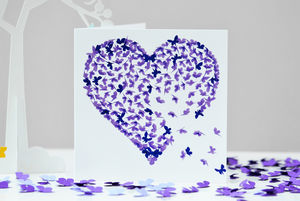 Purple Heart Two Tone Butterfly Blank Card - birthday cards