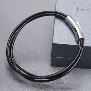 Soho Men's Black Leather Bracelet