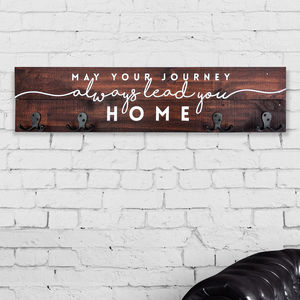 'Lead You Home' Hand Painted Coat Hook Rack - hooks, pegs & clips