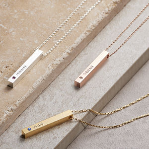 Personalised Swarovski Birthstone Bar Necklace - necklaces & pendants