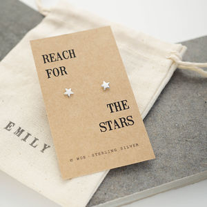 'Reach For The Stars' Silver Earrings - summer sale