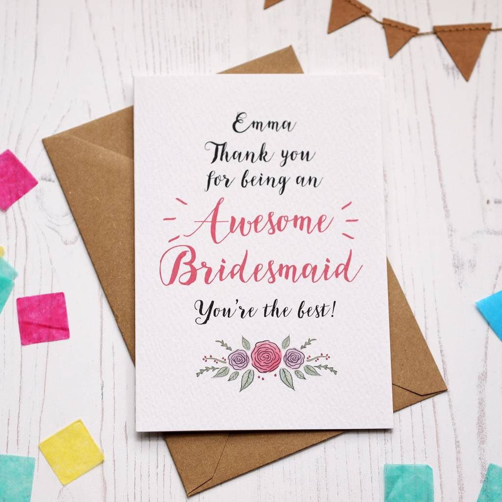 Personalised Awesome Bridesmaid Thank You Card By Arbee