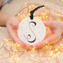Personalised Initial Ceramic Bauble Gold/Silver Detail