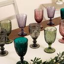Luxury Vintage Embossed Coloured Wine Glasses