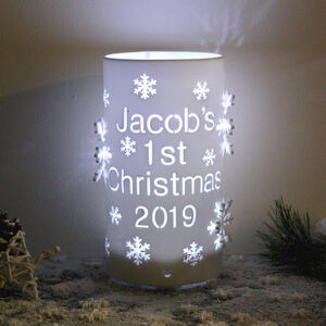 Personalised Baby's First Christmas LED Snowflake Light