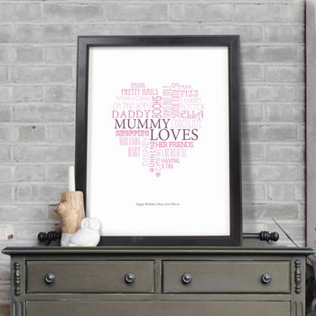 Personalised Typographic Mum Heart Print