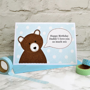 'Daddy Bear' Speech Bubble Birthday Card - birthday cards