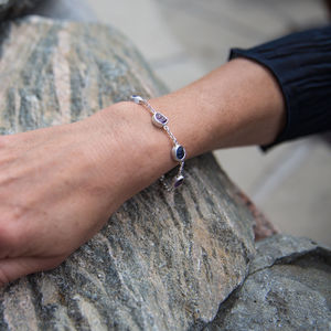 Amethyst And Tanzanite Sterling Silver Ladies Bracelet - bracelets & bangles