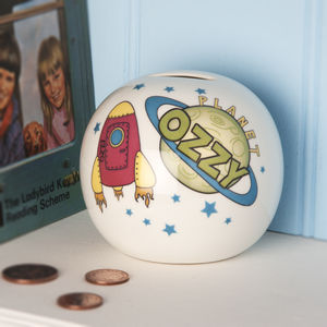 Personalised Rocket Ship Money Box