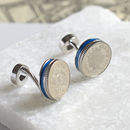 18th / 21st Blue Rim Five Pence Cufflinks