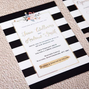 Stripes And Flowers Wedding Stationery - invitations