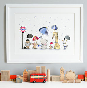 Personalised Zoo Commuters Nursery Print