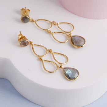 Gemstone Deco Style Earrings