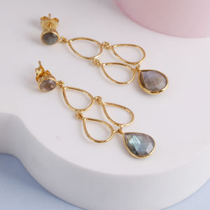 18ct Gold Gemstone Deco Style Earrings