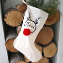 Pom Pom Rudolph Personalised Christmas Stocking