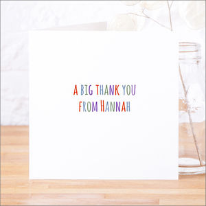 Single Or Pack Of Personalised Thank You Cards D11