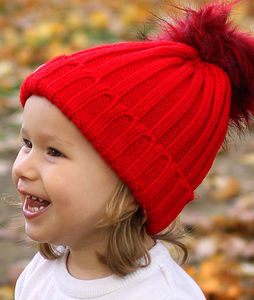 Red Beanie Hat With Removable Faux Fur Pom Pom **Sale**