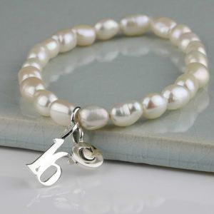 Personalised Freshwater Pearl Birthday Charm Bracelet - personalised