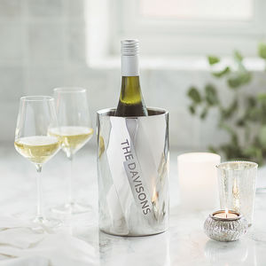Personalised Swirl Wine Cooler - 25th anniversary: silver