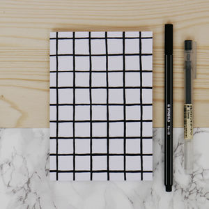 Minimal Monochrome Grid Pattern Notebook - notebooks & journals