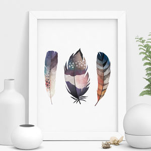 Feather Watercolour Print - posters & prints