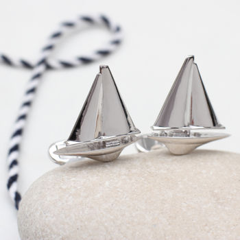 Solid Sterling Silver Sailboat Cufflinks