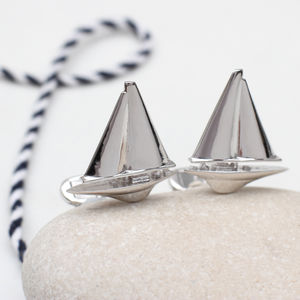 Solid Sterling Silver Sailboat Cufflinks - whats new