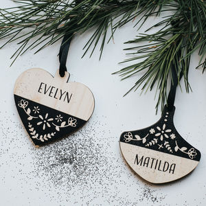 Personalised Black Scandi Wood Christmas Bauble