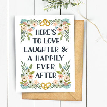 Love Laughter Happily Ever After Wedding Card