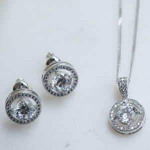 Solitaire Halo Crystal Earrings And Pendant Set