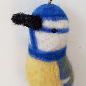 Needle Felt Blue Tit Hanging Decoration