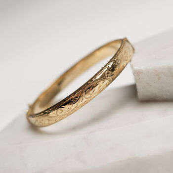 Hand Engraved Vintage Style Rolled Gold Bangle