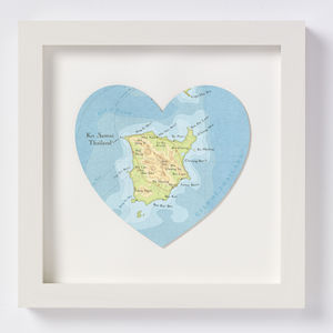 Ko Samui Map Heart Print Honeymoon Gift