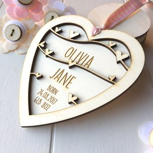 Personalised New Baby Girl Keepsake Heart