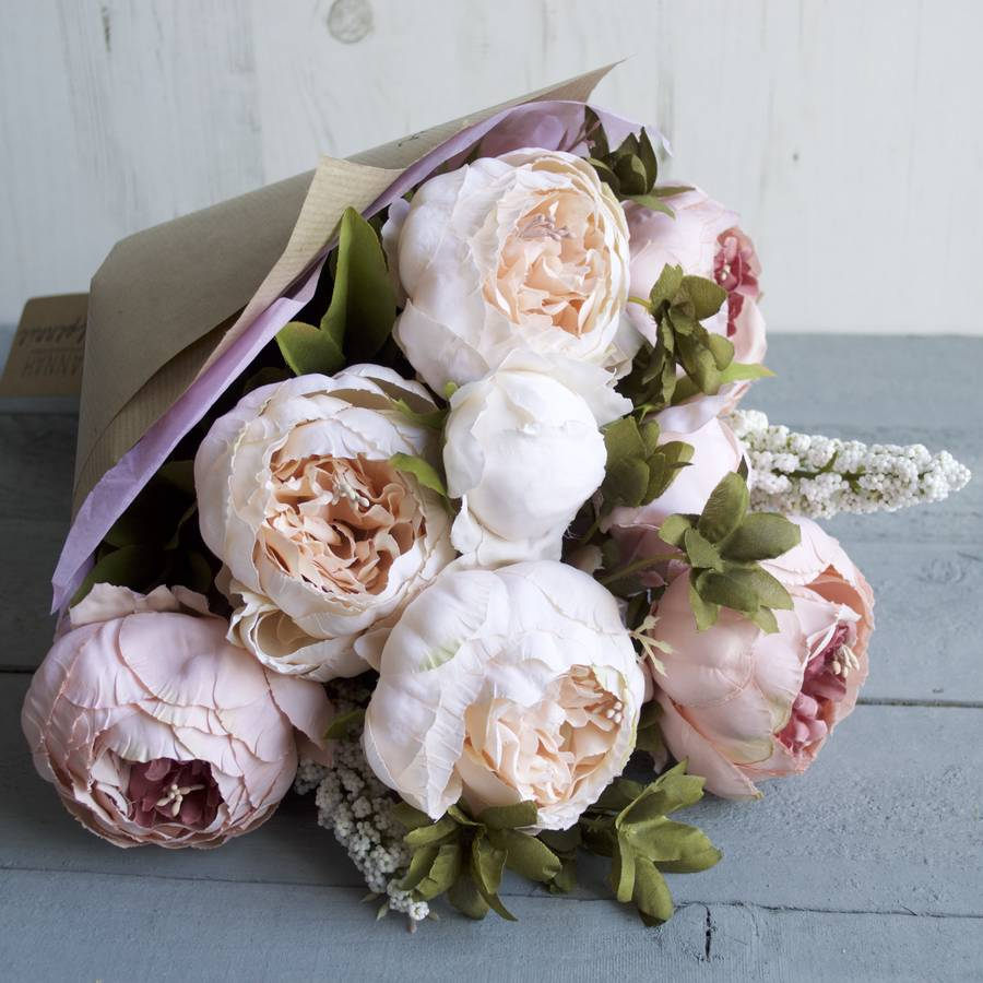 blush peony hand tied faux flower bouquet by hannah halfpennie