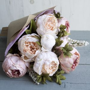 Blush Peony Hand Tied Faux Flower Bouquet - gifts for her