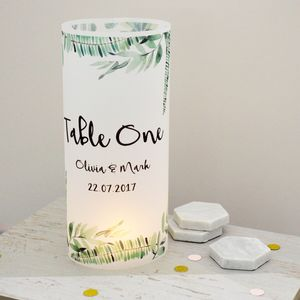 Botanical Wedding Table Number Luminaries