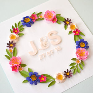Personalised Paper Flower Wreath Picture
