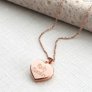 Personalised Rose Gold Heart Pendant Necklace