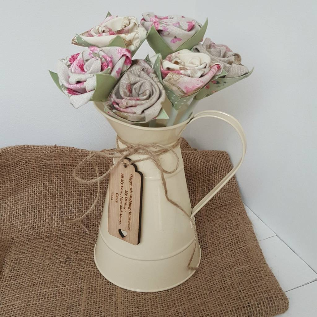 Fl Linen Anniversary Flowers In Jug And Tag