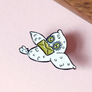 30mm Owl Mail Enamel Pin - pins & brooches