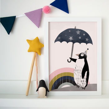 Dream Big Penguin Children's Nursery Print
