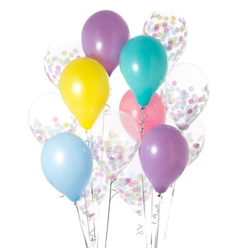 Pack Of 14 Easter Confetti Party Balloons