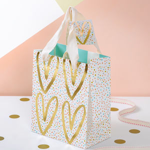 Gold Heart Gift Bag - gift bags & boxes