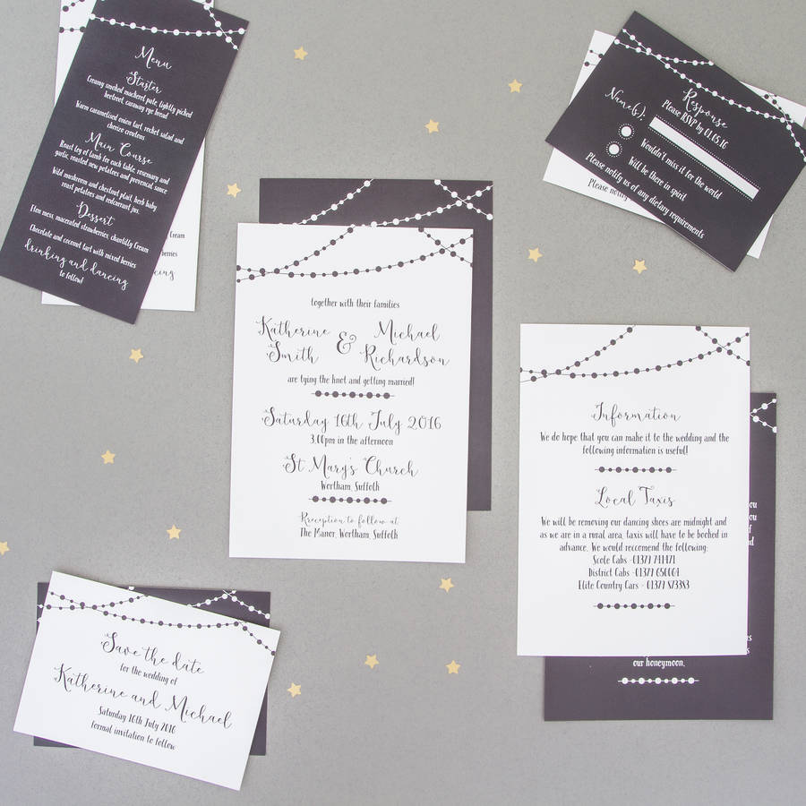 Fairy Light Wedding Invitation And Rsvp By The Two Wagtails