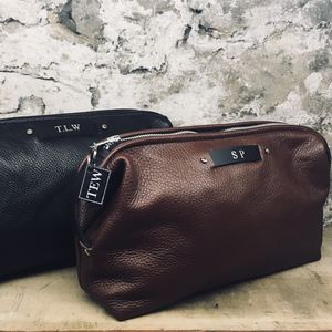 Men's Leather Toiletry Bag - wash & toiletry bags