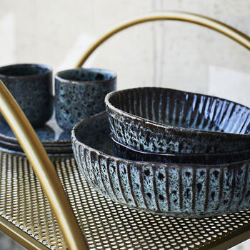Sea Green And Dark Grey Serving Bowl