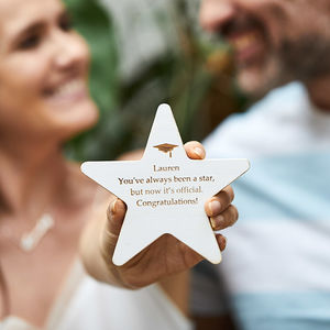 Personalised Graduation Wooden Star Keepsake - exam congratulations gifts