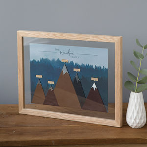 Personalised Family Mountain Print - mixed media & collage