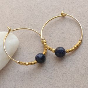 Blue Gold Stone Fair Trade Hoop Earrings 25mm - christmas clothing & accessories